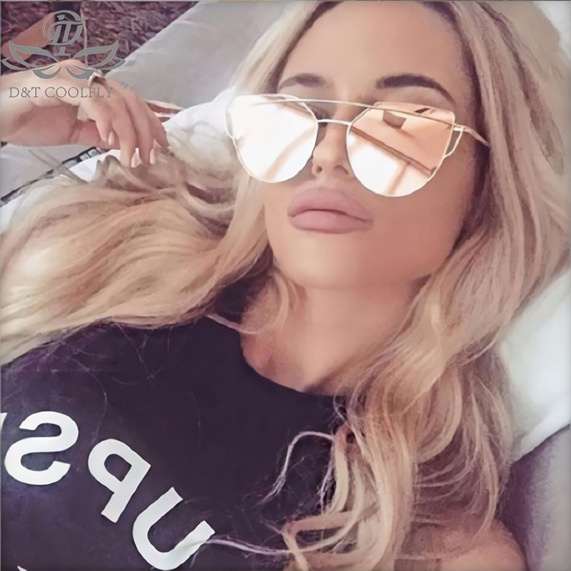 2019 Fashion Cat Eye Sunglasses Women Brand Designer Vintage Rose Gold Mirror Color Lens Classic Alloy Sun Glasses Lady Eyewear