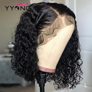 Image 1 - 1x6 T Part & 13x4 Lace Front Human Hair Wigs Brazilian Deep Wave Human Hair Short Bob Wig With Pre Plucked Hairline 120% Wig