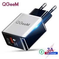 QGEEM QC 3.0 USB chargeur Fiber dessin Charge rapide 3.0 chargeur rapide Portable téléphone adaptateur de Charge pour iPhone Xiaomi Mi9 EU US