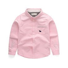 New Boys Shirts 2019 Children Baby Blouse 100%Cotton Solid for Long Sleeve Turn Down Clothing