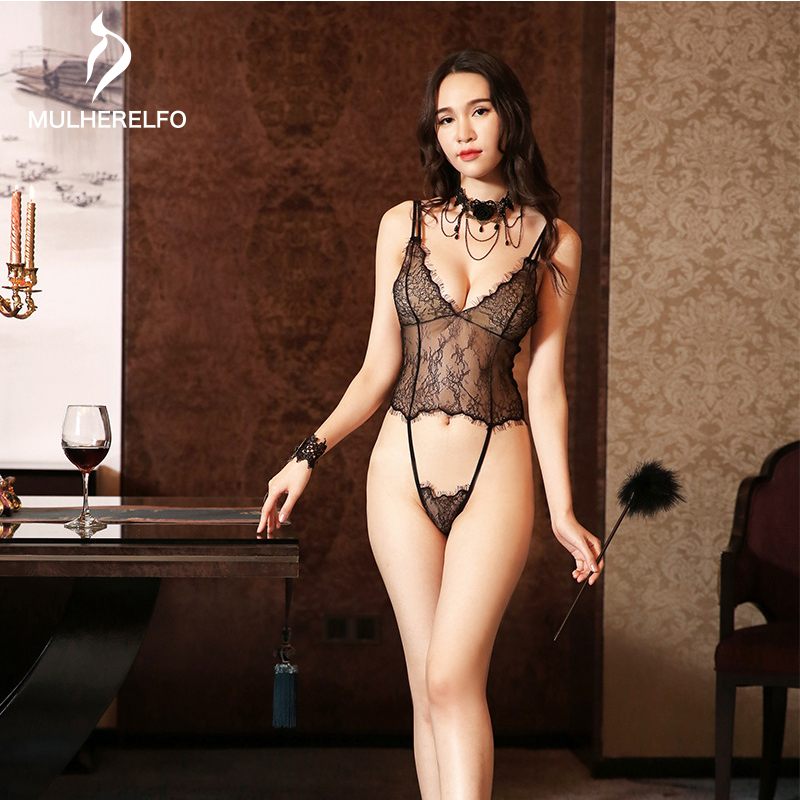 New Summer Sexy Lace See Through Backless Strap Women's Pajamas Hollow Thin Women's Vest Sleepwear Ladies Delight Home Lingerie