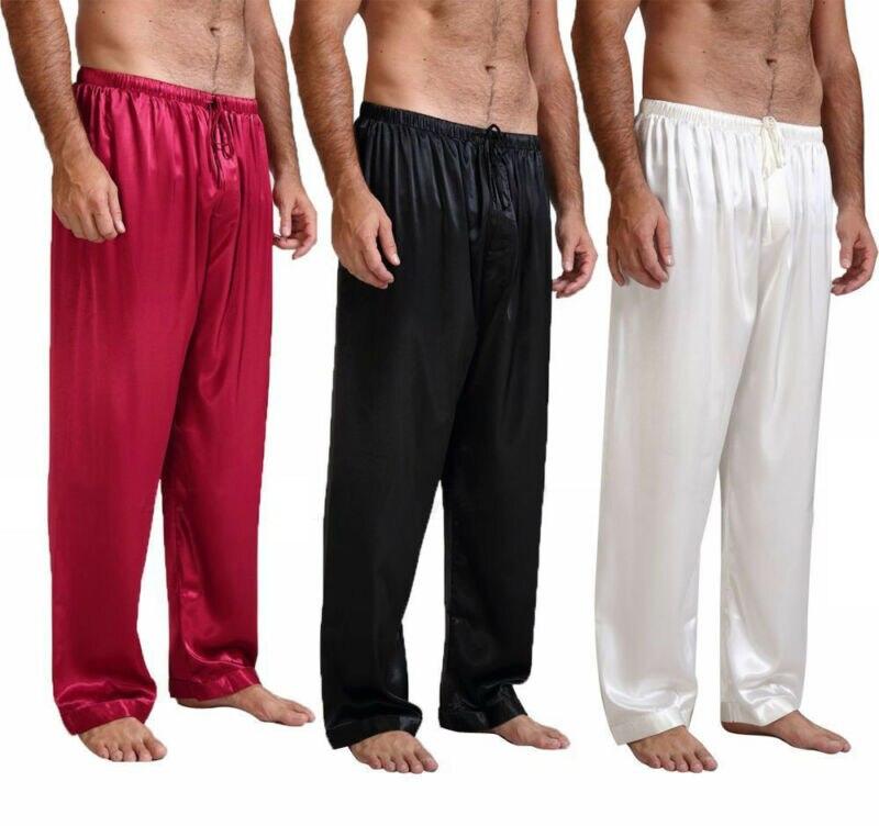 Fashion Solid Mens Nightwear Sleepwear Bath Pajamas Satin Silk Long Lounge Pants Pyjamas NEW