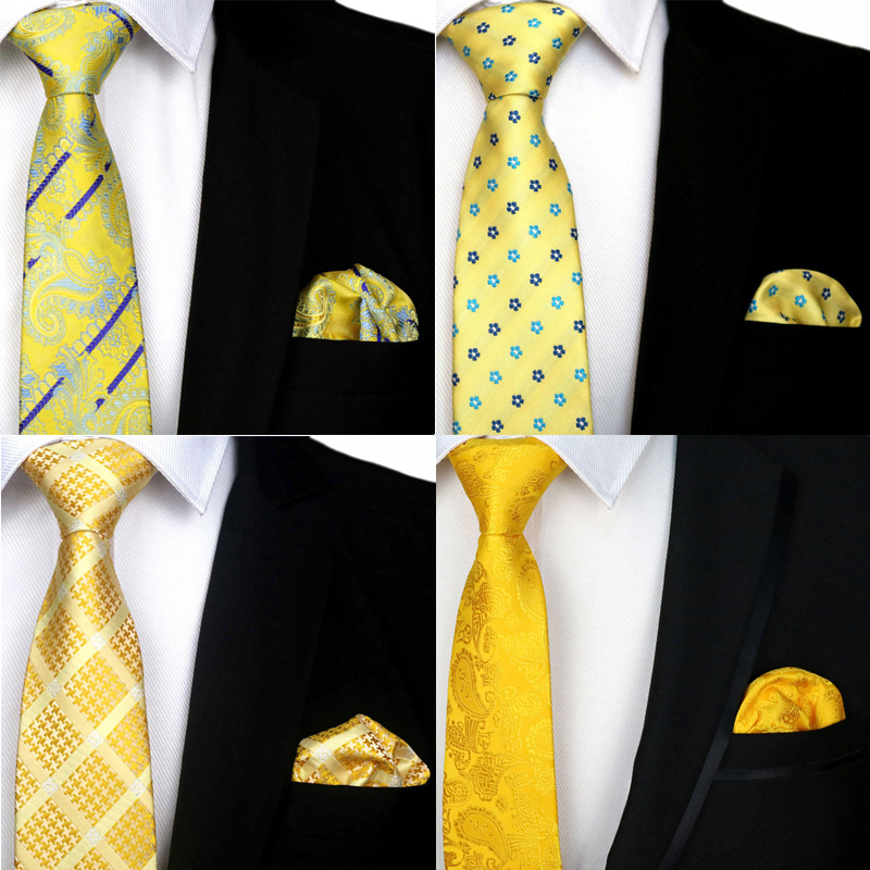 Yellow Tie Men's Classic Solid Neck Tie Silk Jacquard Woven 8CM ( Necktie Hanky Sets ) For Man Formal Wedding Business Party