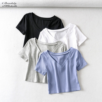 Bradely Michelle Casual Cotton New 2020 Summer Woman Slim Fit t-shirt tight Short-Sleeve V-neck tee Crop Tops 1