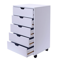 5-Drawer Wood Filing Cabinet  Mobile Storage Cabinet for Closet   Office White Color File Cabinet Storage With 4 360°Wheels