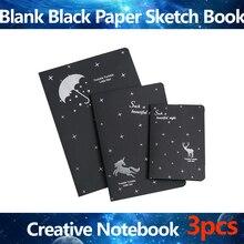 Blank Black Paper Sketch Book Creative Notebook Black Inner Page  Book Painting Drawing DIY Graffiti Paper School Art Supplies
