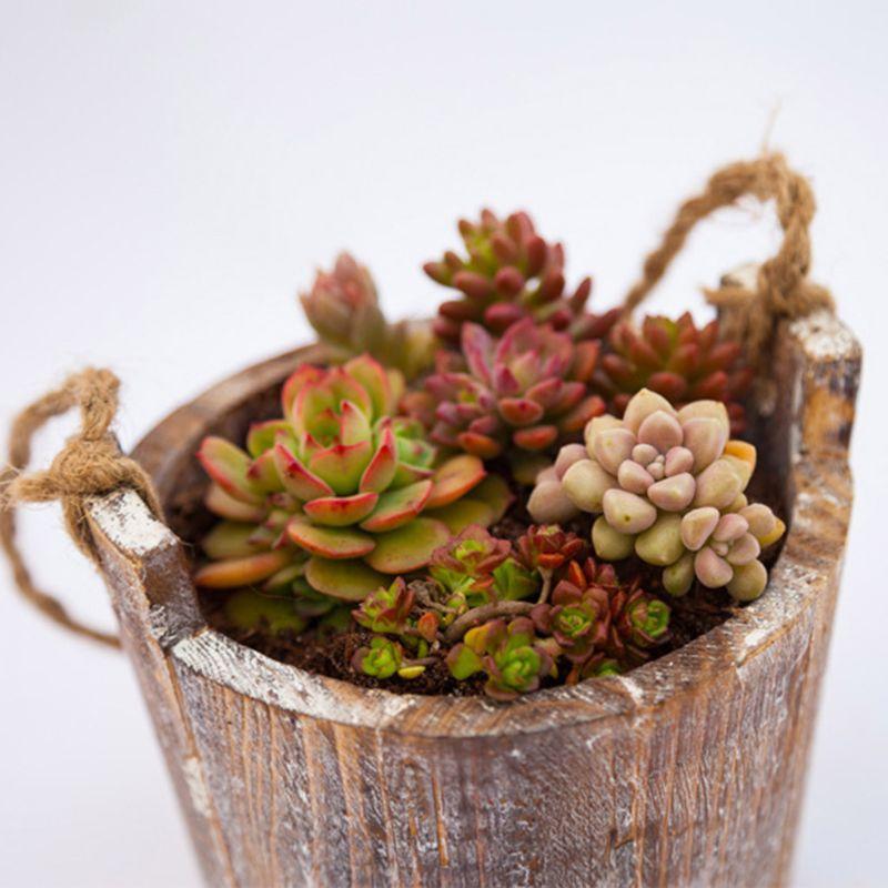 Купить с кэшбэком Retro Wooden Flower Pot Succulent Plant Barrel Hanging Planter Holder Home Decor