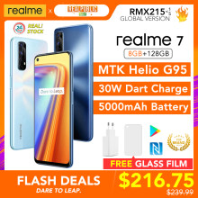 Realme 7 8gb ram 128gb rom versão global 30w dardo carga 48mp quad câmera 90hz display helio g95 gaming cpu 5000mah bateria nova