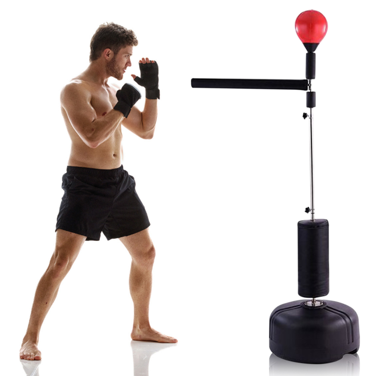 Stand Punching Bag Boxing Speed Response Target With 360 Reflex Bar Adjustable Training Targe Heavy Stand Punching Bag