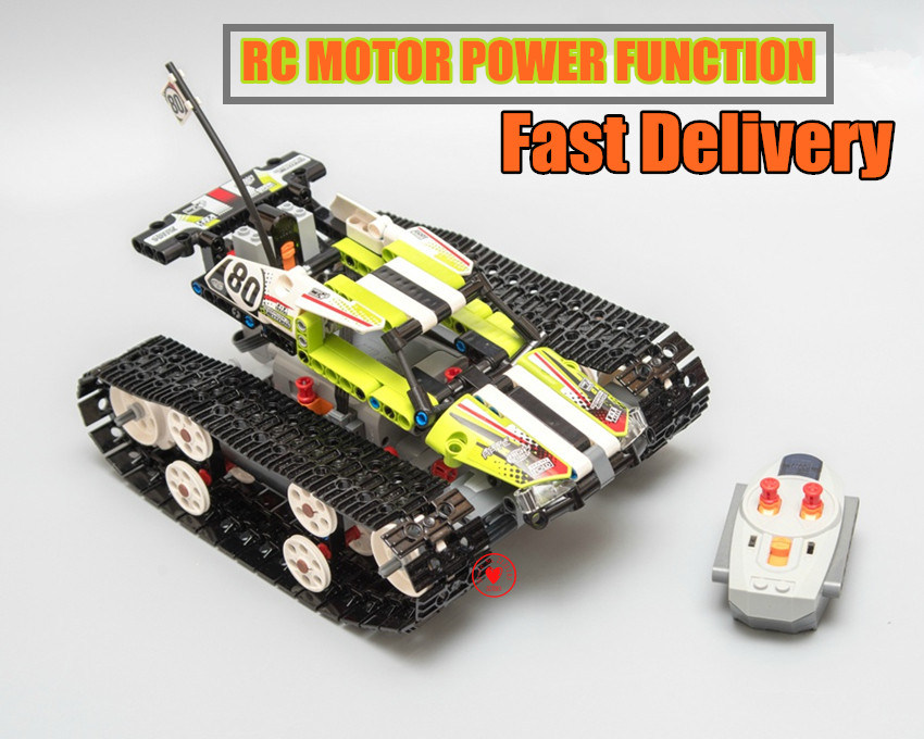 New Technic Electric Motor Power Function Toy RC TRACKED RACER Fit <font><b>Legoings</b></font> Technic Car City Building Block Brick Kid <font><b>42065</b></font> Gift image
