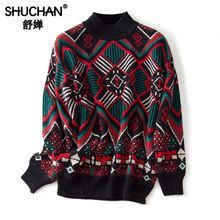 Shuchan Vintage Geometric Sweater Women O-Neck 70% Rabbit+30% Cashmere Designer Tops 2019 High Quality winter fall