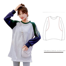 Hoodies Maternity-Clothing Breastfeeding Pullover Autumn Cotton Top-8399 Knit Patchwork-Color