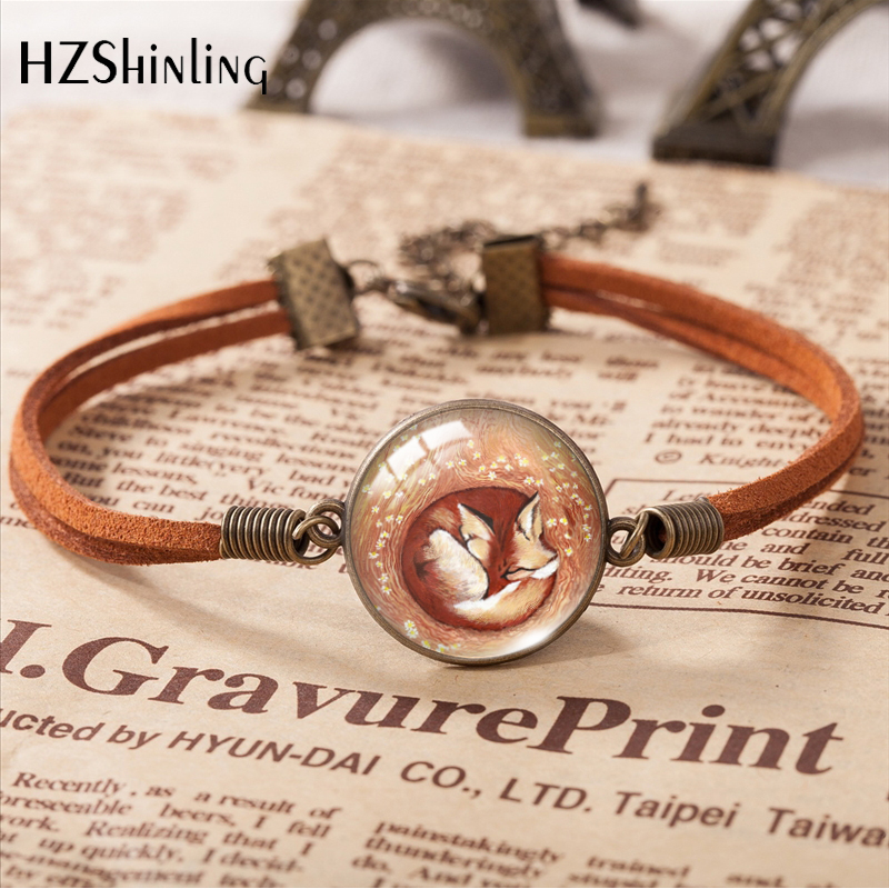 Leather Bracelets Round Glass 20mm Sleeping Fox Cute Pattern Hand Accessories Leather Bracelets Jewelry Handmade Crafts