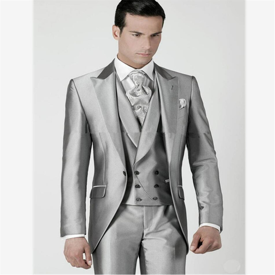 New Men's Suit Smolking Noivo Terno Slim Fit Easculino Evening Suits For Men Silver Prom Tuxedos Jacket+Pants+Vest Groomsmen