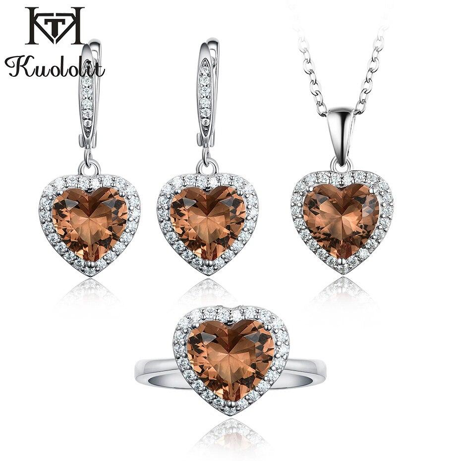 Kuololit Diaspore Sultanite Edelstein Schmuck Set für Frauen Echt 925 Sterling Silber Ring Ohrringe Halsketten Hochzeit für Frauen