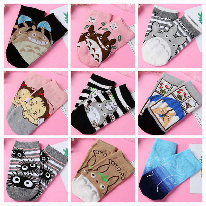 Japanese Totoro Casual Women Cotton Socks Cartoon Patterned Socks For Women Cotton Ankle Short Sock Sox