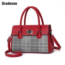 Gradosoo Fashion Panelled Shoulder Bags For Women Top-handle Bag Luxury Leather Handbag Ladies New Crossbody Female HMB653