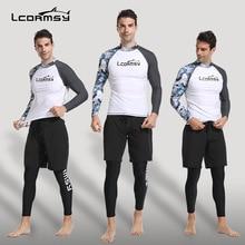 LCDRMSY Fashion rashguard UV protection swimwear for  Men surfing rash guard shorts+zipper shirt 3 set compression