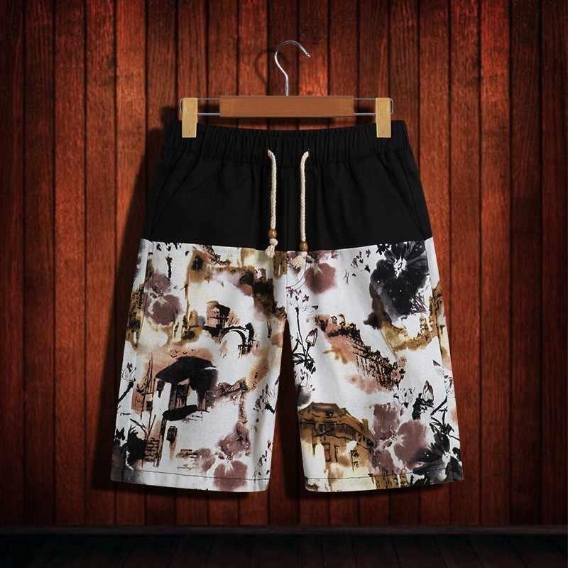 2020 homens impressão de cintura elástica cordão shorts casuais algodão linho alta qualidade estilo chinês praia calças curtas verão solto