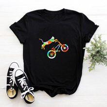 Cat Riding A Bicycle T Shirt Women Short Sleeve Watercolor Painting Tee Women Cotton Tshirt Women Top Pink Kawaii Femme T-shirts