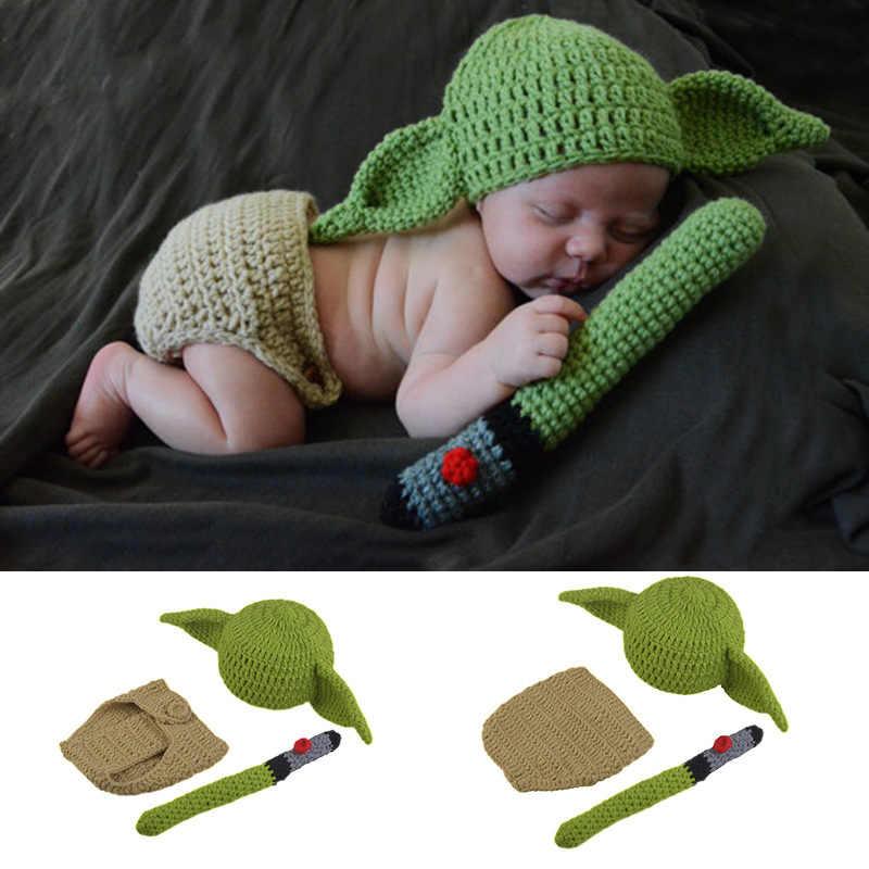 Baby Yoda Beanie Hat Newborn Photography Props Costume Mandalorian Star Wars
