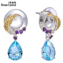 Boucles d'oreilles originales pour femmes, bijoux féminins délicats, Look habillé, ton bleu, Zircon cubique, bijoux uniques, WE3991