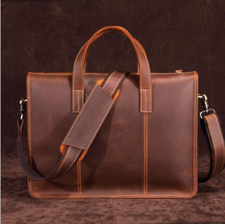 MAHEU High Fashion Mens Leather Briefcase Bag Top Layer Cowhide Handbag For 15 Inch Laptop