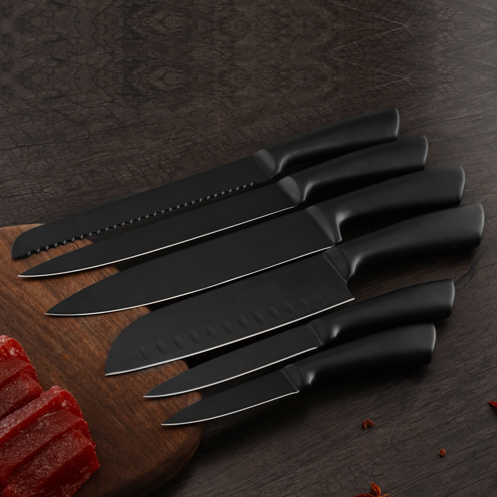 Kitchen Knives Accessories Stainless Steel Black Knife Set Very Sharp Cooking Knives With Sharpener Bar Steel Knife Stand 8pcs in Kitchen Knives from Home Garden