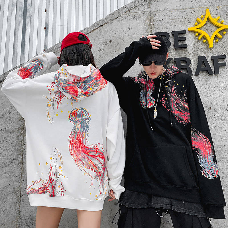 Image 5 - 2019 Hip Hop Hoodies Sweatshirt Cool Jellyfish Printed Men 