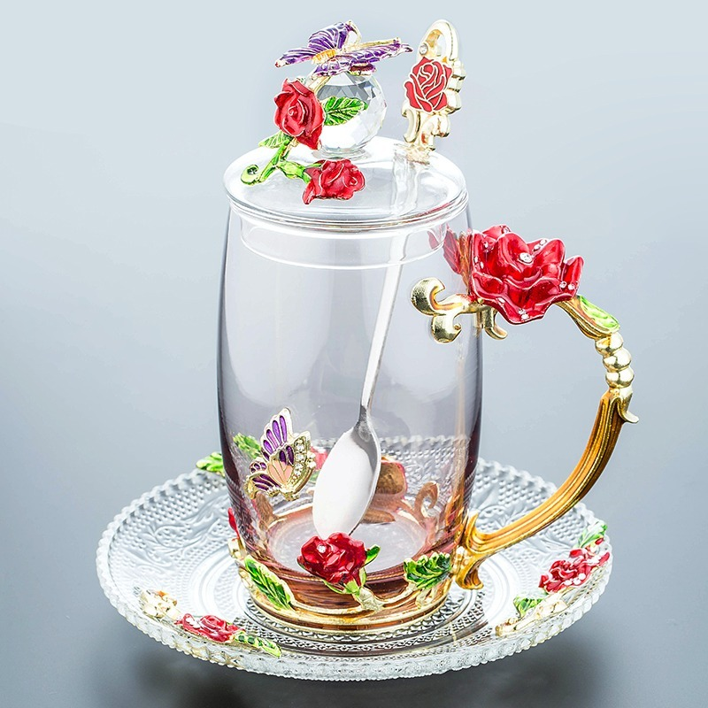 320 / 350ML Beautiful Enamel Cup, Glass, Household Set, Flower Tea, Crystal Coffee Cup, Beer Mug, Couple Wedding Gift