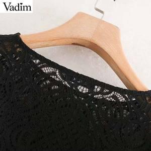 Image 3 - Vadim Nữ Vintage Phối Ren Thiết Kế Áo Dài Tay Xù Xem Qua Áo Sơ Mi Nữ Thời Trang Cao Cấp Blusas LB632