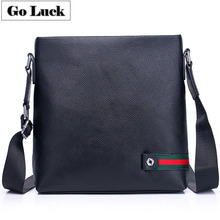 купить GO-LUCK Brand Black Genuine Leather Business Style Men's Crossbody Shoulder Bag Men Cowhide Messenger Bags Ipad OL Pack дешево