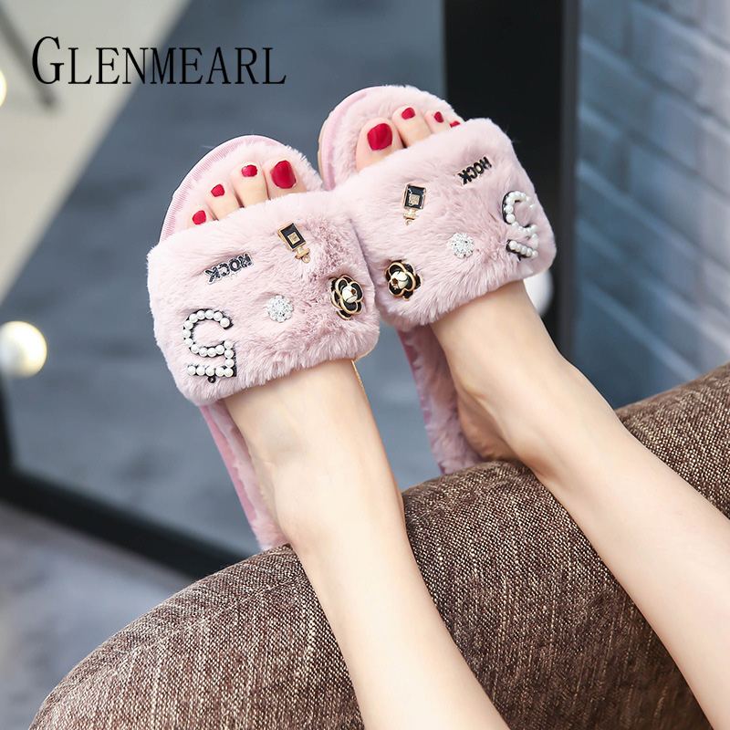 Slippers Women Shoes Fur Slides Winter Warm Indoor Shoes Home Slippers House Flats Slip On Female Flip Flop Casual Shoes DE