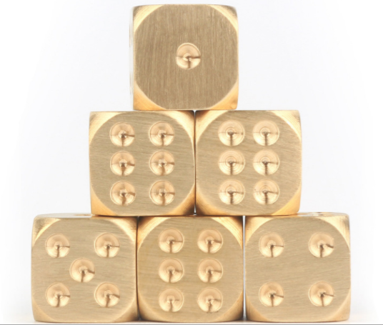 Brass Dice, Pure Copper Metal Solid Chrome Hand-polished Bar Supplies Creative Mahjong Sieve