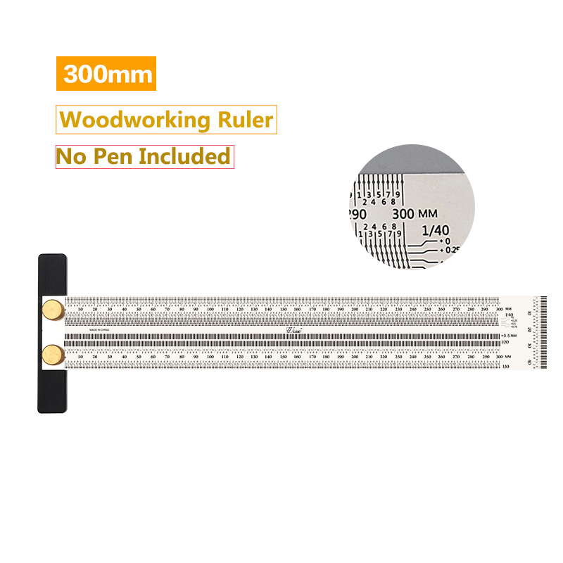 High-precision Scale Ruler T-type Hole Ruler Stainless Woodworking Scribing Mark Line Gauge Carpenter Measuring Tools