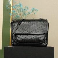 París Original de la marca negro mensajero bolsa de bandolera de cuero bolso fijo correa de cadena al hombro 28 × 20 × 8,5 cm