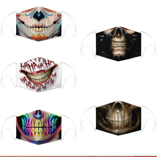 3pcs/set Skull Reusable Face Mouth Mask PM2.5 Filter Anti-Dust Protective Kids Man Woman Cartoon Washable Mouth Cover Masks