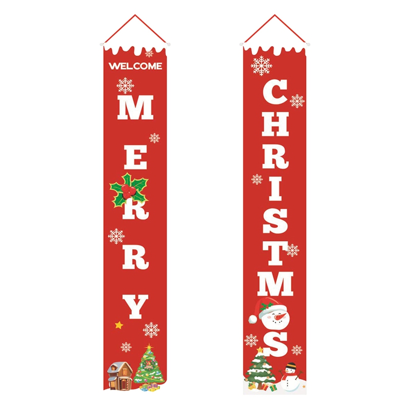 ABFU-Merry Christmas Banner Christmas Porch Fireplace Wall Signs Flag For Christmas Decorations Outdoor Indoor