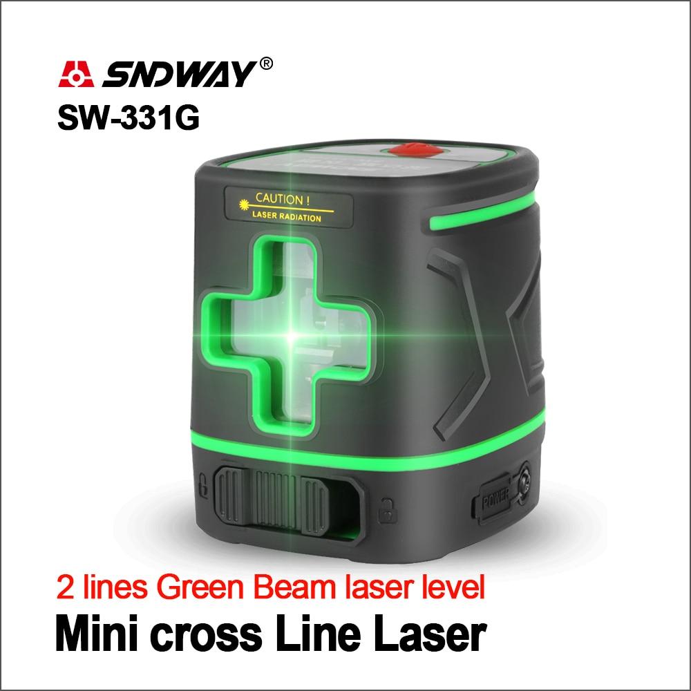SNDWAY Laser Level 2 Linien 360 Grad Akku Grün Strahl Selbst Nivellierung Level Laser 3D Rotary Vertikale Horizontale