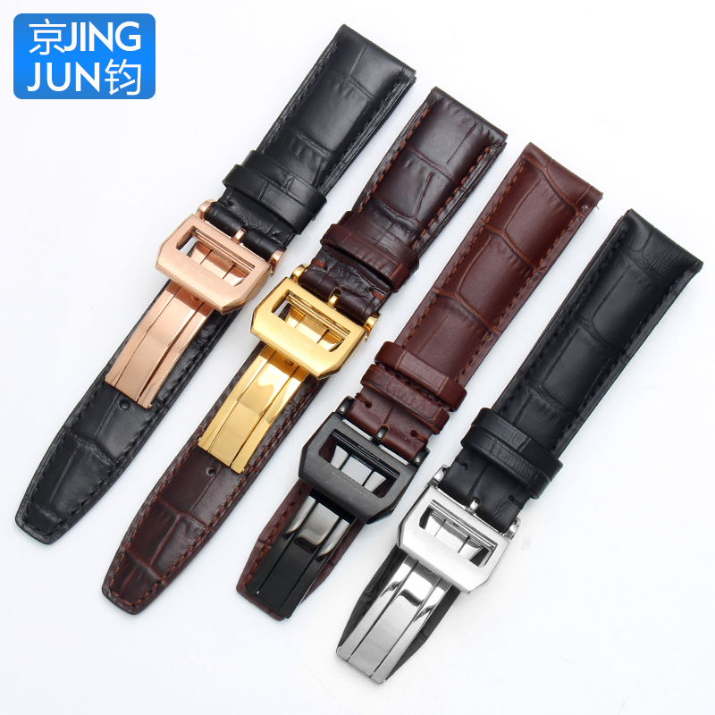 20mm 21mm 22mm Italian Cowhide Watch Strap Needle Folding Buckle Leather Watchband Suitable for IWC PORTUGIESER Series Watch