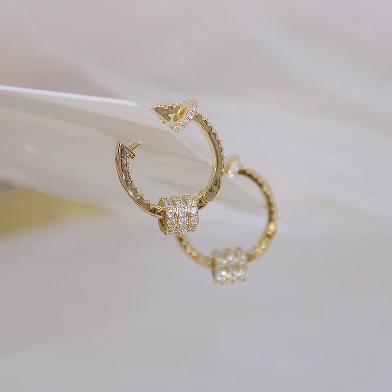 14k or véritable luxe Super brillant boucles d'oreilles boucle de haute qualité délicate AAA Zircon cercle boucle d'oreille bijoux pendentif accessoires 4