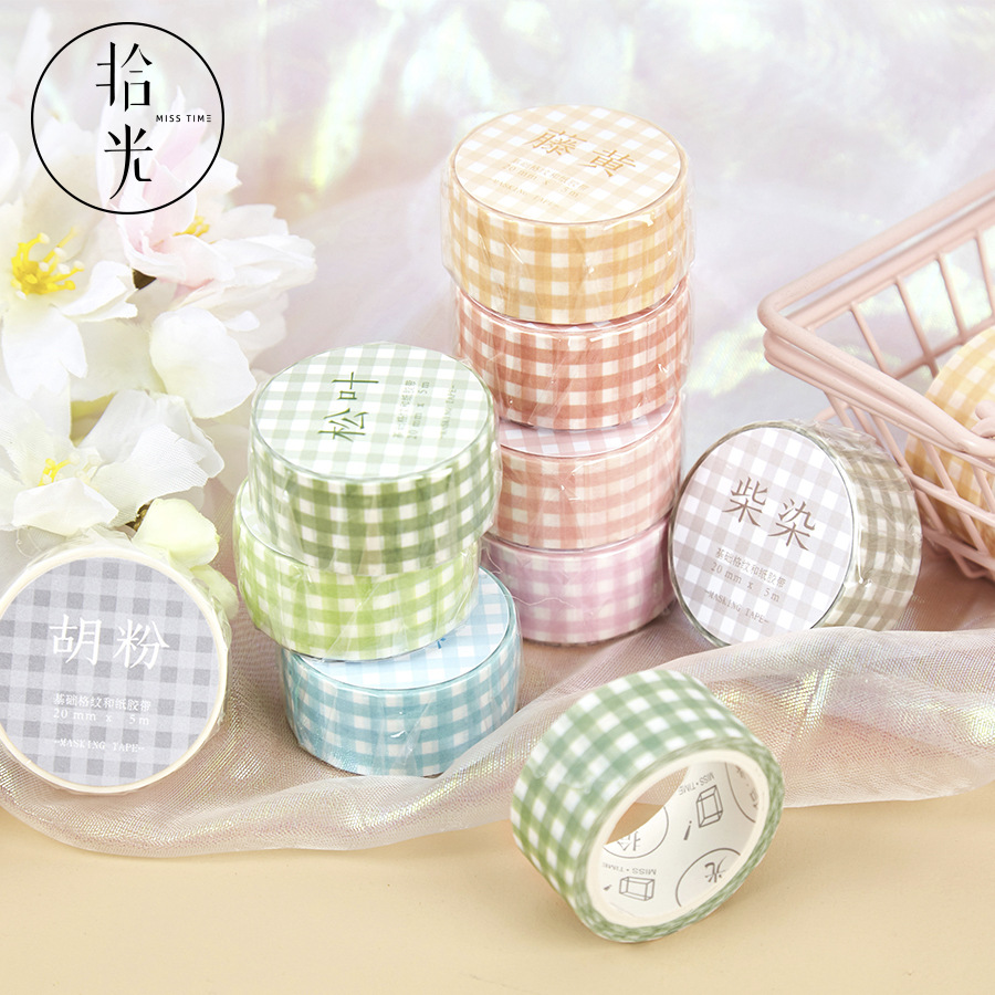 Basic Plaid Series Bullet Journal Washi Tape Decorative Adhesive Masking Tape For Stickers Scrapbooking DIY Stationery Tape