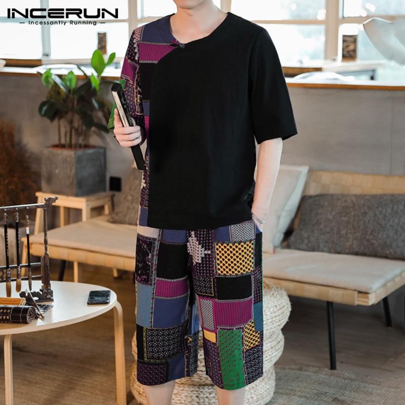 Vintage Printed Men Sets Short Sleeve T Shirt Elastic Waist Casual Pants 2 Pieces Ethnic Style Men Sets Streetwear INCERUN S-3XL