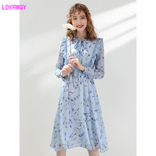 2019 autumn new hot womens French platycodon print cute ageing lead slimming chiffon dress