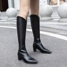 Bottes longues à bout pointu pour femmes, bottes solides à talons épais avec fermeture éclair, taille 31 32, collection automne et hiver