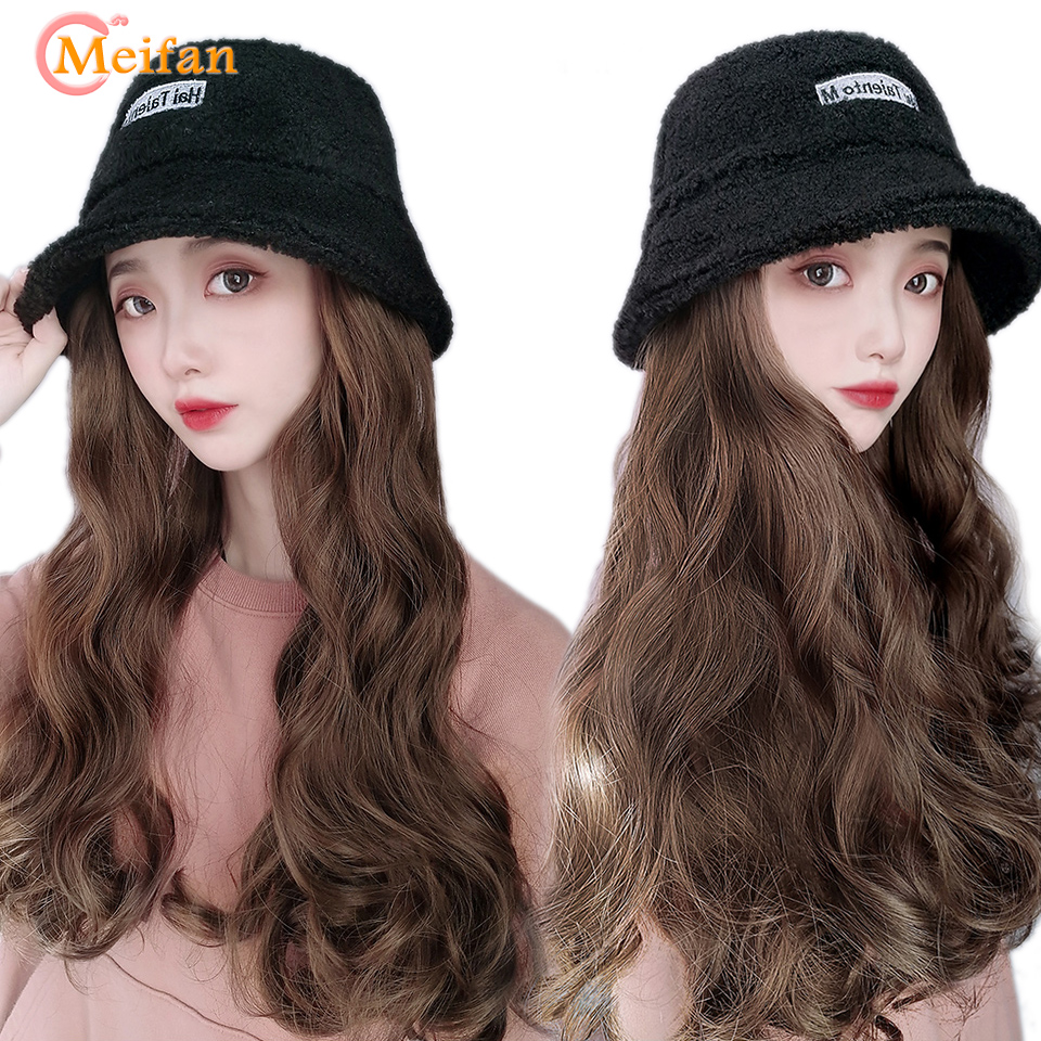 MEIFAN Velvet Bucket Hat Wig For Women Synthetic Long Wavy Curly Winter Wide-brimmed Bucket Hat Wig All-in-one Wig With Hat