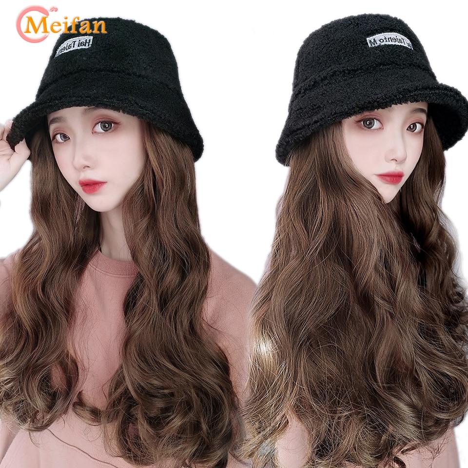 MEIFAN Velvet Bucket Hat Wig For Women Synthetic Long Wavy Curly Winter Wide-brimmed Bucket Hat Wig All-in-one Wig With Hat