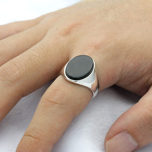Image 5 - 925 Sterling Silver Men Ring with Black Natural Onyx Stone Ring Thai Silver Simple Design for Man Women Turkish Jewelry