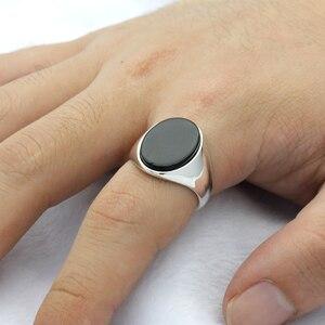 Image 5 - 925 סטרלינג כסף גברים טבעת עם שחור טבעי אוניקס אבן טבעת כסף תאילנדי פשוט עיצוב לגבר נשים תכשיטים תורכי
