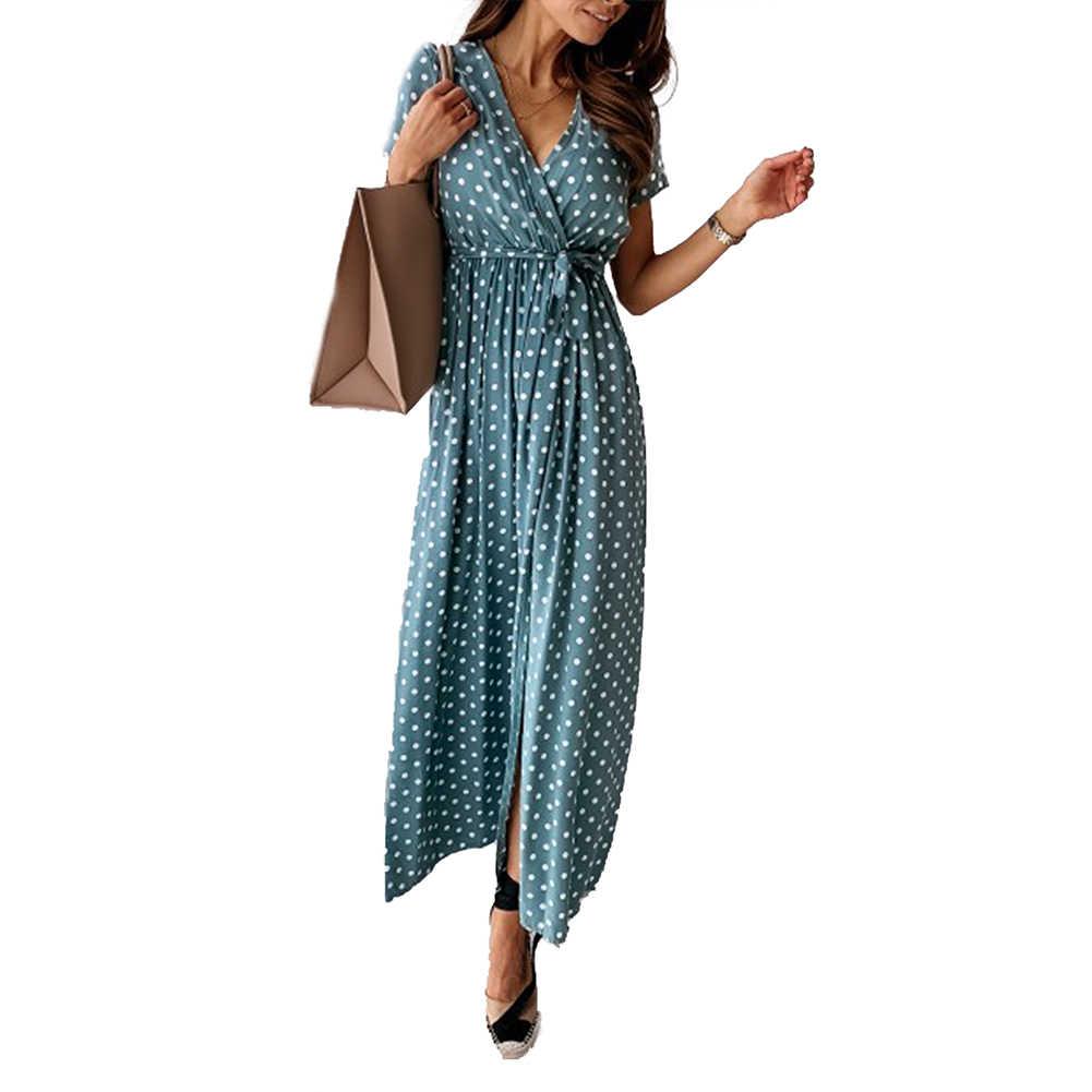büro dame lange kleid frauen boho strand sommer kurzarm polka dot split ol  kleid elegante damen party club playa steetwear